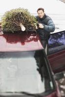 Cómo atar un árbol de navidad en el techo de un coche con No Rejilla